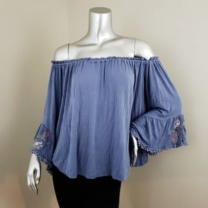 Altar'd State Off Shoulder Blue Floral Top